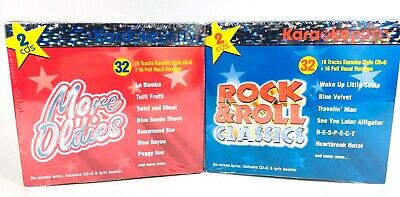 2 Karaoke Party CD Sets Rock & Roll Classics & More Oldies On Screen Lyrics New ()