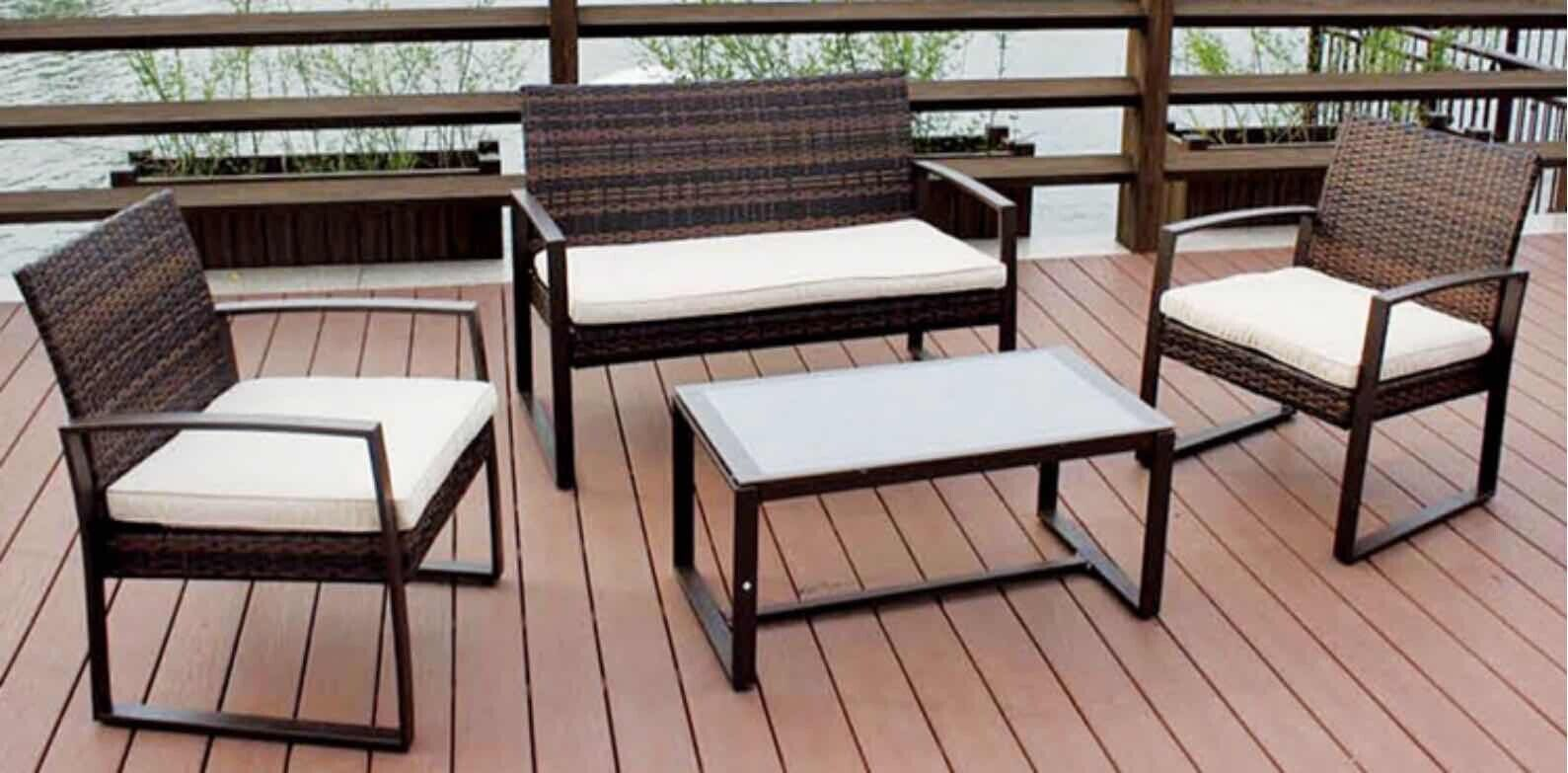 Garden Furniture - New Rattan Garden Furniture Set 4 Piece Chairs Sofa Table Outdoor Patio