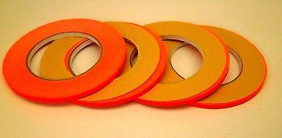 """[4] FLO ORANGE MARKING PINSTRIPE Fingerboard Masking Tape 1/4"""" WIDE low tack NC"""