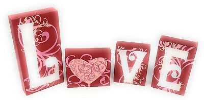 Love Blocks Wooden L O V E Words Valentine's Day Decor V-Day Gift Table Top Deco (Word Blocks)
