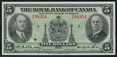 630 18 02  5 1935 Royal Bank Of Canada Montreal Quebec About Unc Cv  750 Hw3350