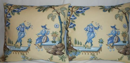 Brunschwig & Fils Throw pillows La Danse Chinoiserie Fabric Blue Yellow New PAIR