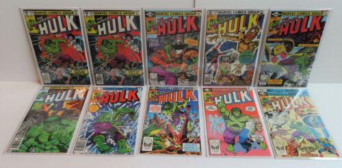 Marvel Lot Run 10 books Hulk 256 257 259-265 1st app Sabra Avg VF+ Bronze Age