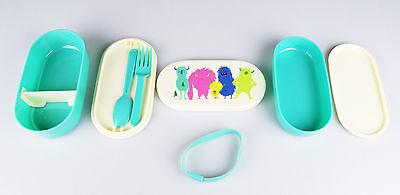 Lunchbox-Set Kinder-Brotdose Bento-Box, süße Monster, mit Besteck + 2 Schalen