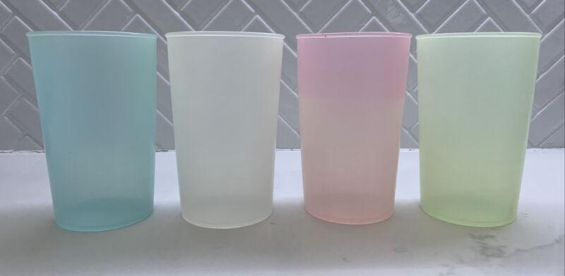 Vintage Small Tupperware Millionaire Line Set Of 4 Cups Pastel Color #103 Rare