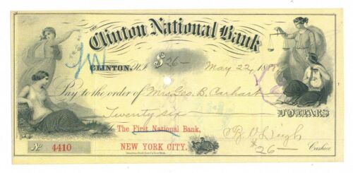 1888 Clinton, NJ draft on yellow, American Bank Note Co. beautiful vignettes
