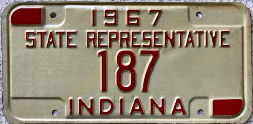 1967 Indiana State Representative American License Licence USA Number Plate 187