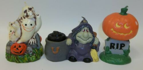 Lot 3 Vintage Halloween Figural Candles - RIP Ghosts Witches Jack O Lantern