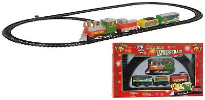 Set of 2, 9Pcs Christmas with Train Carriages & Track Toy Display Set Xmas Gift