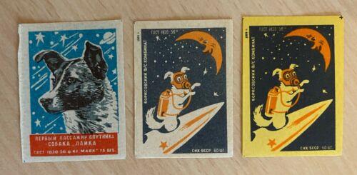 USSR Soviet Russian Matchbox Labels Space Dog Laika Sputnik Rocket