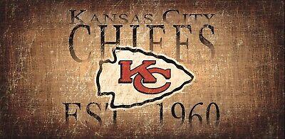 Kansas City Chiefs Wood (Kansas City Chiefs Retro Throwback Established 1960 Wood Sign - NEW 12