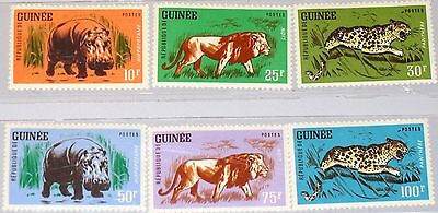 GUINEA 1962 128 33 248 53 TIERE ANIMALS FAUNA FLUSSPFERD L WE LEOPARD LION MNH