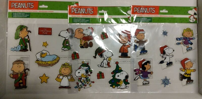 Christmas Charlie Brown Snoopy Woodstock 2-sided Set of 3 Window Cling Reuseable