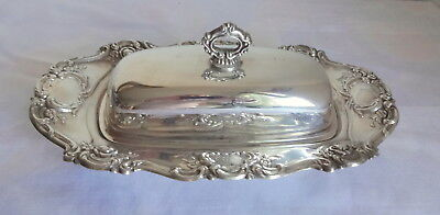 Vintage Towle Co Ornate Silver Plate Covered Butter Dish w Tray Glass Rose Decor