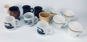 12 Vintage mugs Pyrex Princess Diana WC Bunting Trains CP Rail
