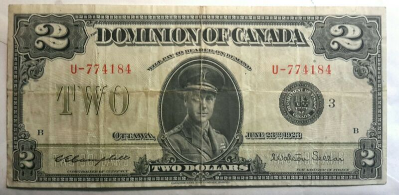 1923 CANADA TWO DOLLAR BLACK SEAL NOTE