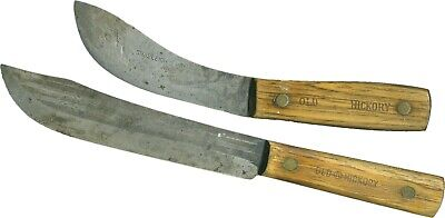 Pair OLD HICKORY Kitchen Knives From Different Blade Makers SHAPLEIGH & TRU-EDGE