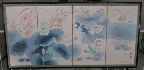 """Vintage Asian Silk 4-Panel Folding Screen * 70""""x 35"""" *Hummers"""" FREE SHIPPING!"""