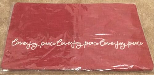 Pottery Barn Love Joy Peace Embroidered Pillow Cover - Red -16x26 - NWT - $59.50