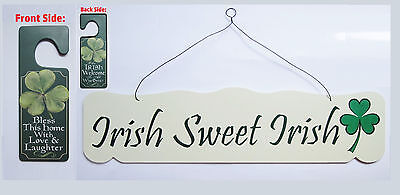 Sweet Irish Sign & Door Knob Hanger Bless This Home Welcome Shamrock wall - Shamrock Door
