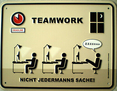 Funschild - Teamwork, 22 x 17 cm