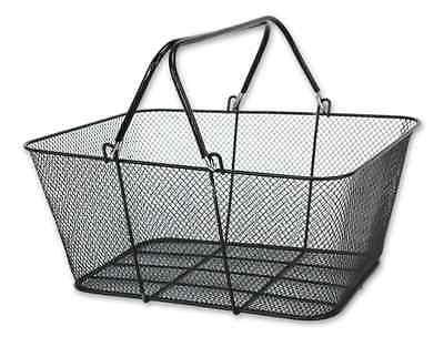 Metal Shopping Basket - Standard Size Wrubberized Finish Handle Black