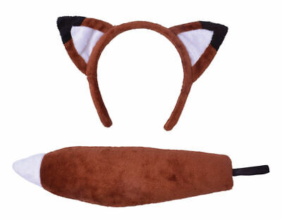 Orange Brown Fox Ears And Tail Set Adult And Child Fancy Dress Animal Accessory - Fox Tail Kostüm