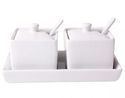 Set of 2 Square Porcelain Jam Preserve Sauce Dip Serving Dish with Tray & Spoon