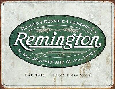 "Remington Guns Rifles Hunting In All Weather Logo Est. 1816 Tin Sign 13"" x 16"""