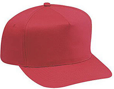 Cotton Twill Five Panel Pro Style Caps, Red Pro Style Cotton Twill Cap
