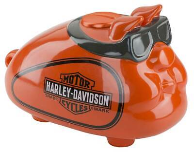 Harley-Davidson Ceramic Hog Bank W/ Goggles - Custom Orange Finish U-HDX-99147