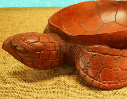 """16"""" Long Hand Carved Mahogany Wood Sea Turtle Bowl Catchall Sculpture Nautical"""