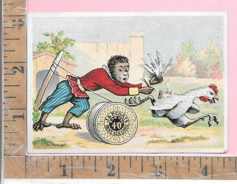 J & P COATS THREAD SEWING MACHINE MONKEY ROOSTER FEATHER VICT TRADE CARD 410-411