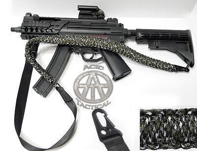 "550 Paracord Tactical Gun Sling 50"" 2 Point Rifle Shotgun airsoft (Green/White) comprar usado  Enviando para Brazil"