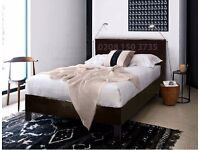"""HIGHEST GRADE"" DOUBLE LEATHER BED MODERN DESIGN BLACK BROWN DOUBLE 4FT6 KINGSIZE 5FT"