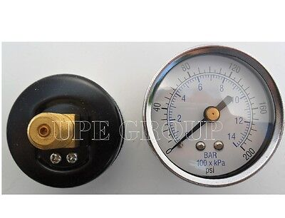 New Air Pressure Gauge Air Compressor Hydraulic 2.5 Face 0-200 Back Mt 14 Npt