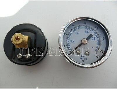 New Air Pressure Gauge Air Compressor Hydraulic 2 Face 0-15 Back Mnt 14 Npt