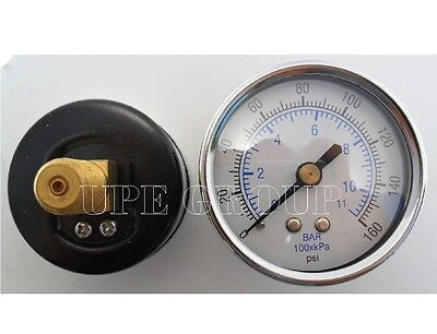 New Air Pressure Gauge Air Compressor Hydraulic 2 Face 0-160 Back Mnt 14 Npt