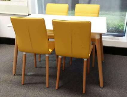 Heme Oslo 5pc Dining Table with 4 Chairs in yellow