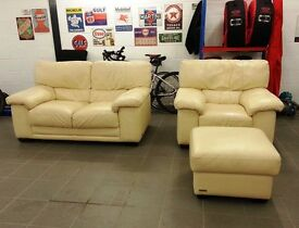 Matching, good quality light leather sofa for 2, single chair and ottoman to sell