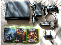 Xbox 360 elite with 120gb hard drive, wireless controller, wireless internet adapter, games and more