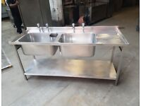 commercial stainless steel large double bowl sink for restaurant catering 1800mm for restaurant