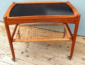 VINTAGE RETRO DANISH TEAK TEA TROLLEY DRINKS LIFT OFF TRAY 1950S WICKER SHELF
