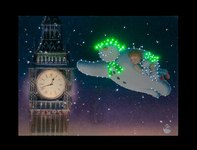 The Snowman and The Snowdog Flying Past Big Ben, Fibre Optic Canvas, Battery Ope