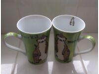 A Pair Of Meerkat Contemporary Modern Tall Mugs