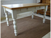 Dining Table - Farmhouse style solid waxed pine top (Holt BA14)