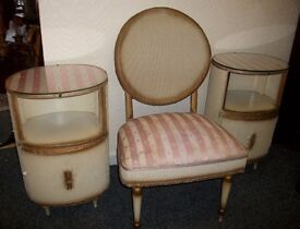 Vintage Lloyd Loom Style Bedside Cabinets + Chair