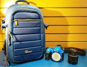 Appareil photo+ objectif+sac bleu PENTAX K-50