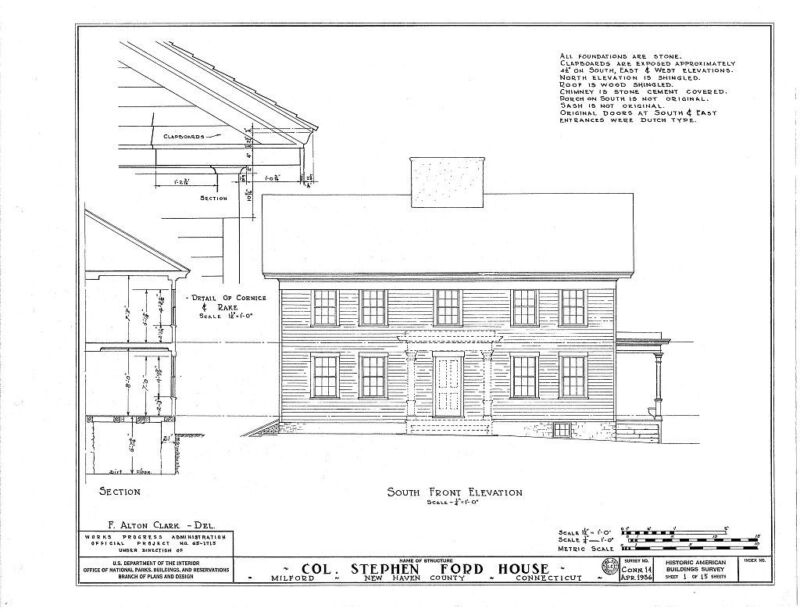 Classic Early Colonial timber framed house, architectural plans