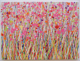MODERN ART ABSTRACT PINK, YELLOW & RED FLOWER ART FLORAL PAINTING ON LANDSCAPE CANVAS Free Delivery